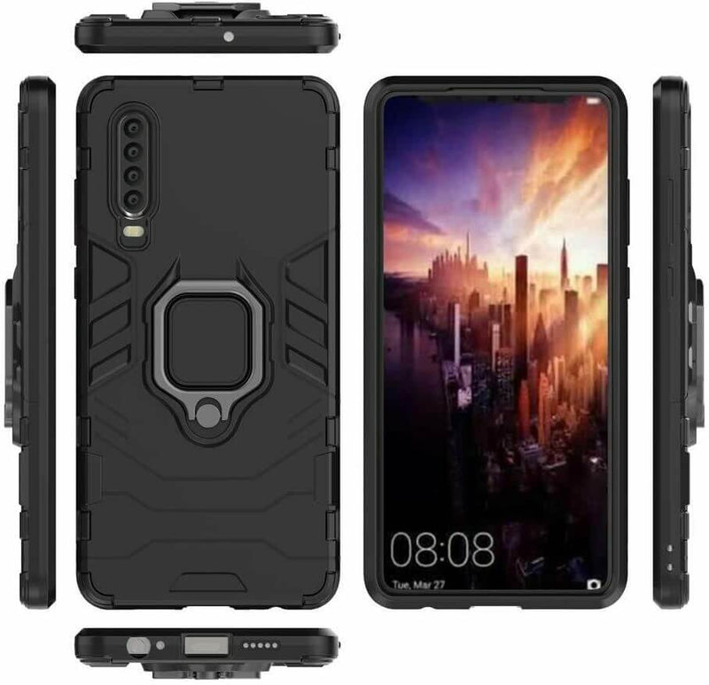 Huawei P30 Luxury Armor Case Shockproof Cover Magnet Ring Holder - Black