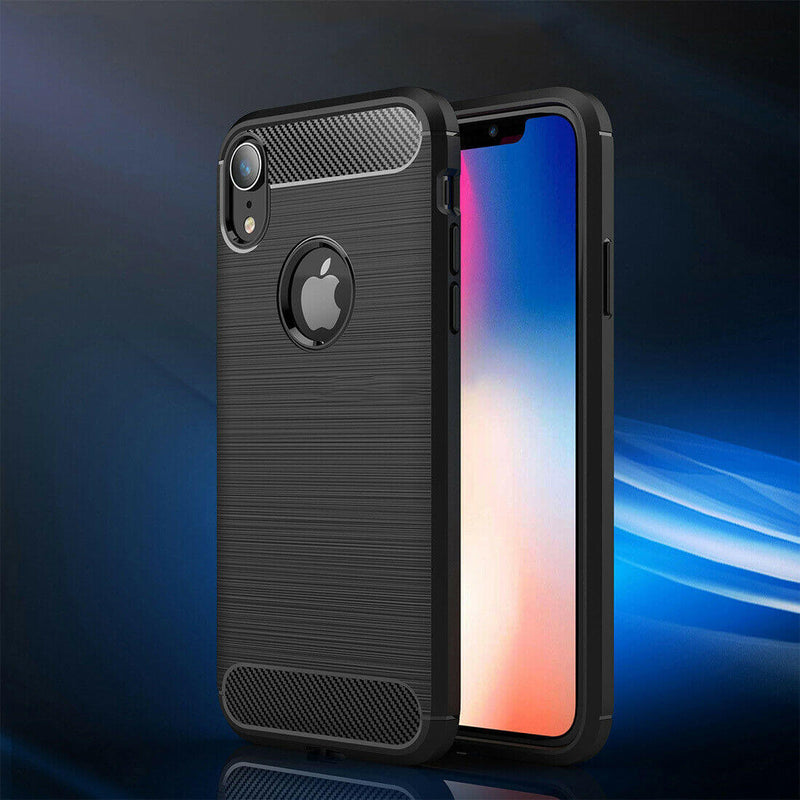 Apple iPhone XR Carbon Fibre Design Case TPU Cover - Black