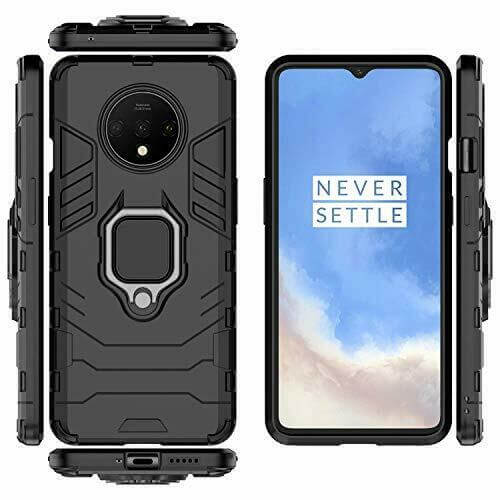 OnePlus 7T Luxury Armor Case Shockproof Cover Magnet Ring Holder - Black