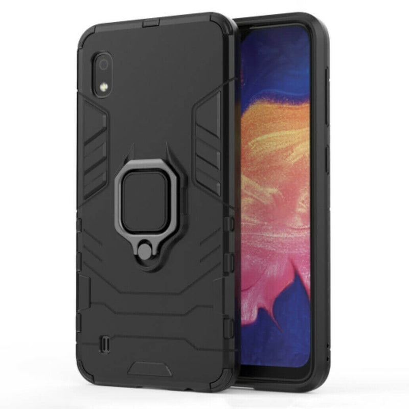 Samsung Galaxy A10 Luxury Armor Case Shockproof Cover Magnet Ring Holder - Black