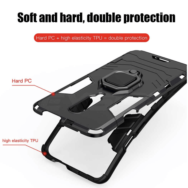 Samsung Galaxy A50 / A50s / A30s Luxury Armor Case Shockproof Cover Magnet Ring Holder - Black