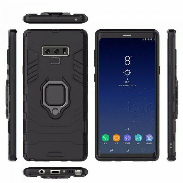 Samsung Galaxy Note 9 Luxury Armor Case Shockproof Cover Magnet Ring Holder - Black