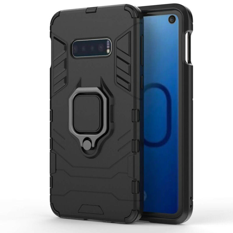 Samsung Galaxy S10e Luxury Armor Case Shockproof Cover Magnet Ring Holder - Black