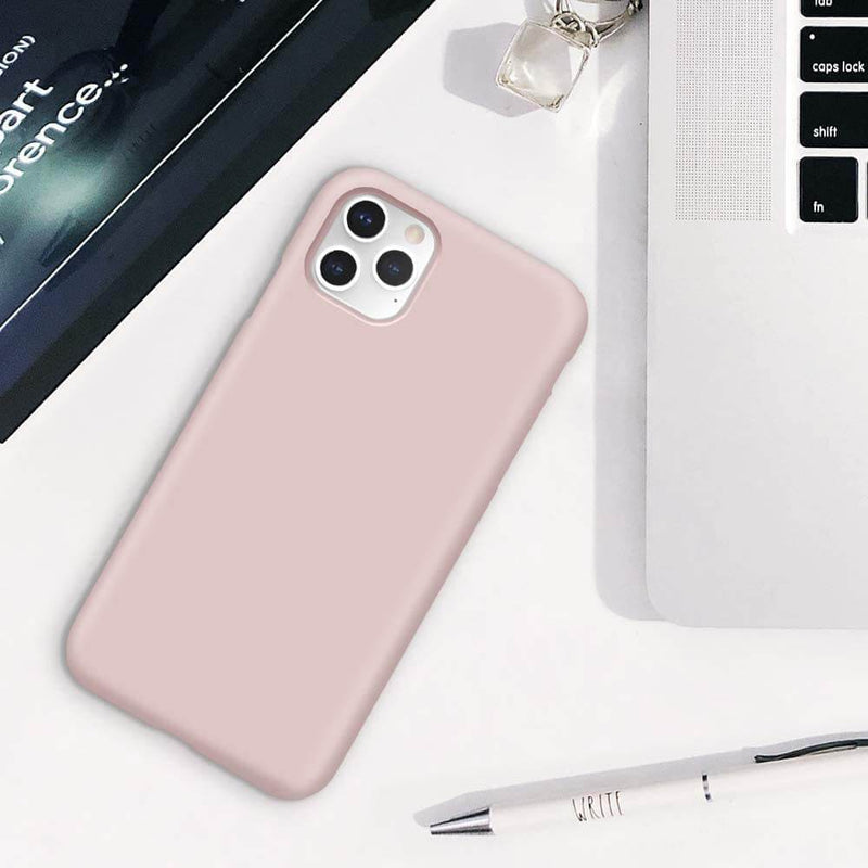 Liquid Silicone Case For Apple iPhone 11 Pro Luxury Thin Phone Cover Pink Sand
