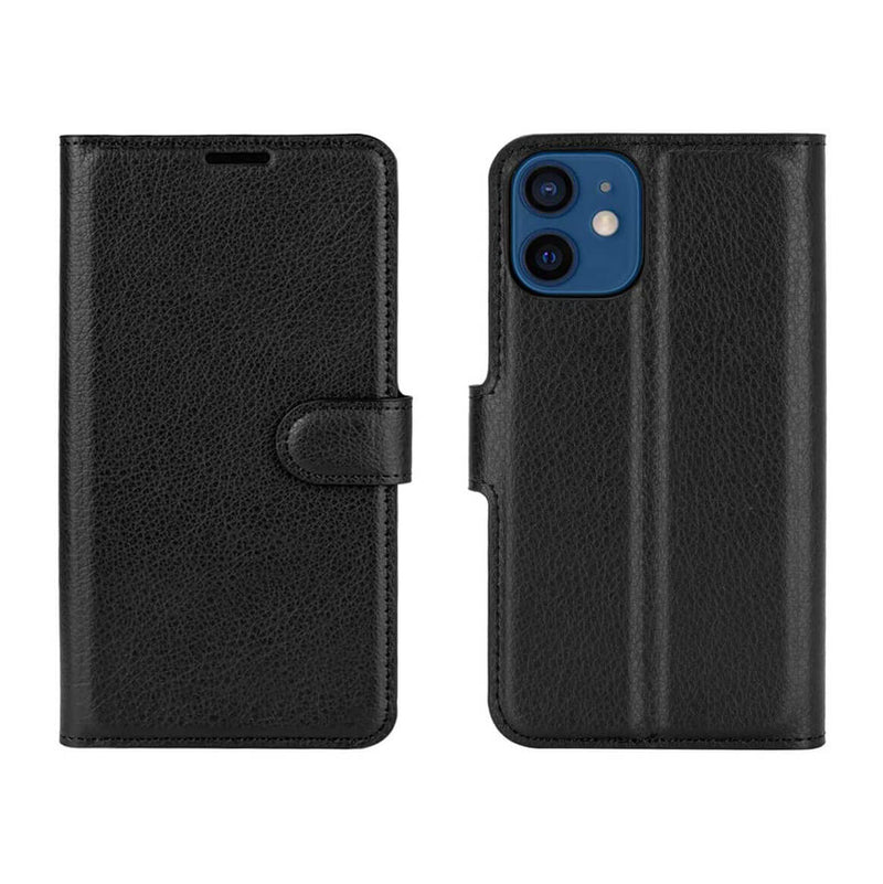 PU Leather Wallet Cover For Apple iPhone 12 Mini Case Holder Card Slots Black