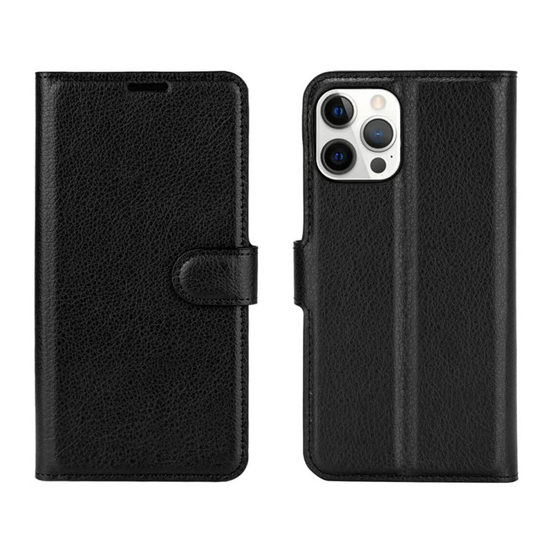 PU Leather Wallet Cover For Apple iPhone 12 Pro Max Case Holder Card Slots Black