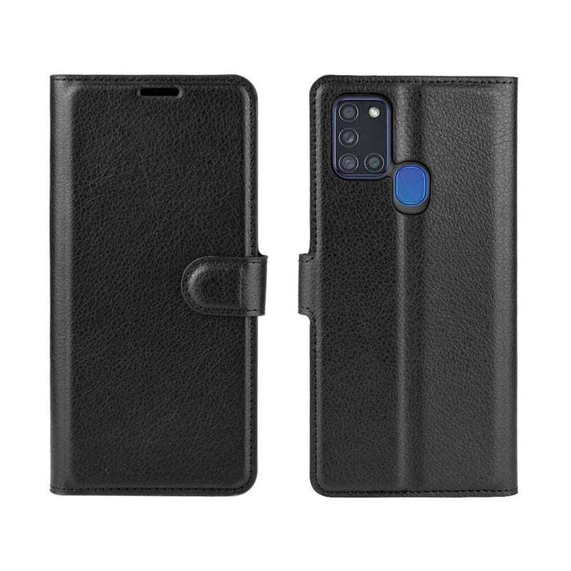 PU Leather Wallet Cover For Samsung Galaxy A21s Case Holder Card Slots Black