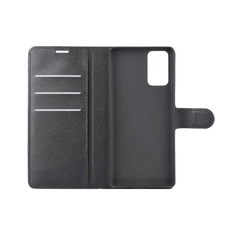 PU Leather Wallet Cover For Samsung Galaxy Note 20 / Note 20 5G Case Holder Card Slots Black