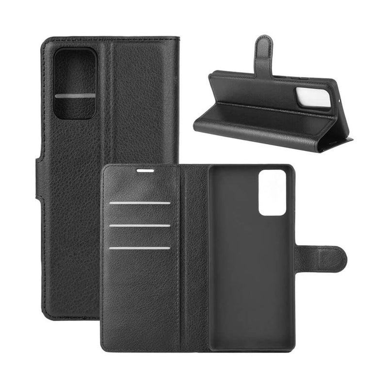 PU Leather Wallet Cover For Samsung Galaxy Note 20 Ultra / Note 20 Ultra 5G Case Holder Card Slots Black