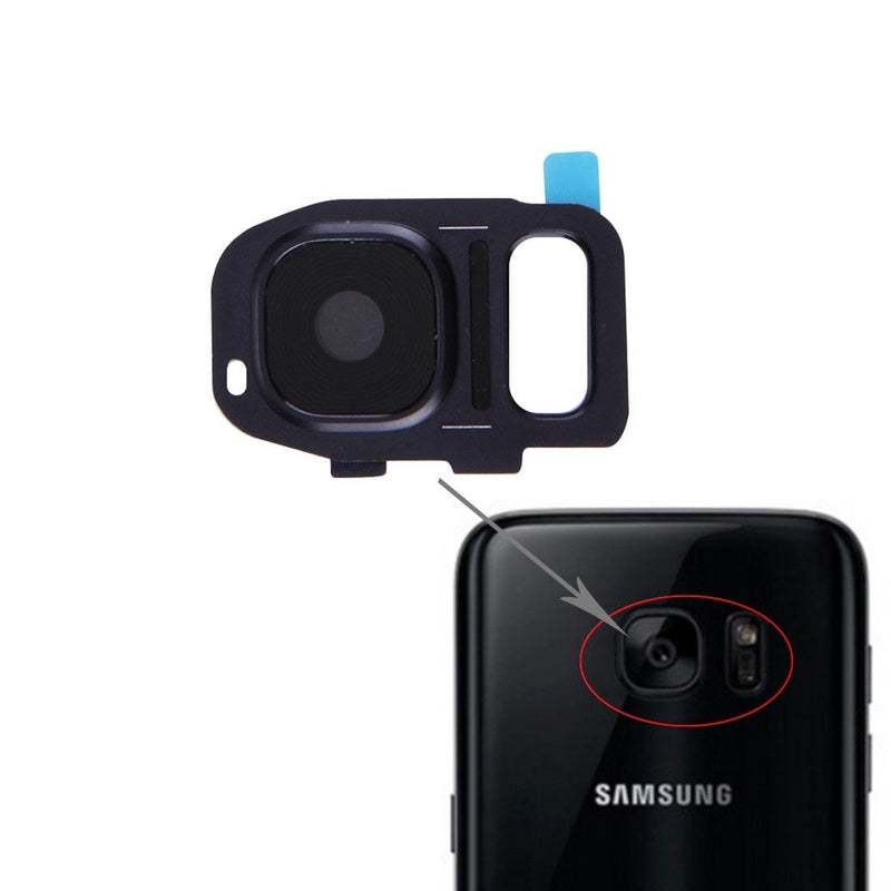 Samsung Galaxy S7 / S7 Edge Back Camera Lens Glass With Frame - Black for [product_price] - First Help Tech