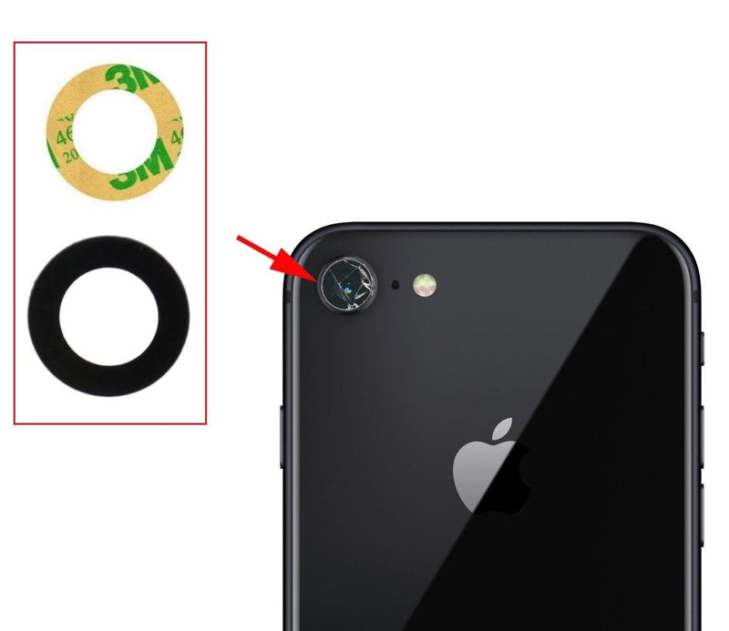 Apple iPhone 7 / 8 Rear Back Camera Lens Glass Cover Black With Adhesive for [product_price] - First Help Tech