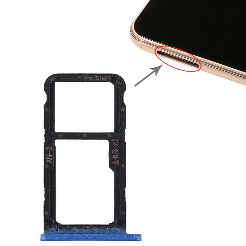 Huawei P20 Lite - Dual SIM Card Holder Tray Slot Blue for [product_price] - First Help Tech