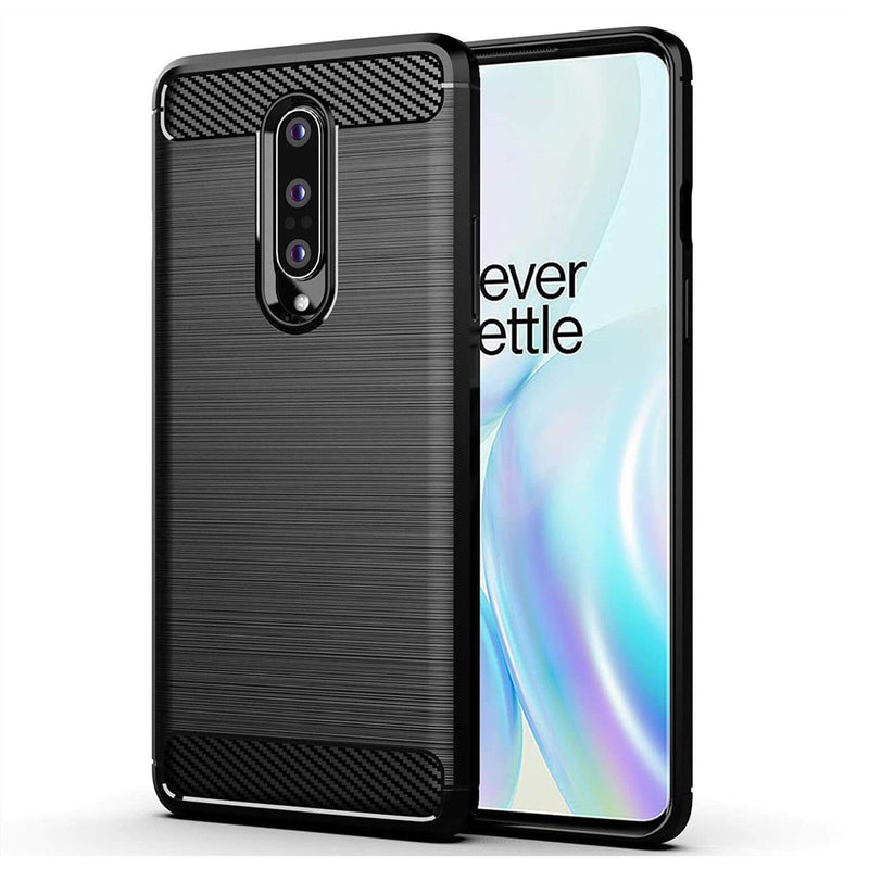 TPU Phone Cover For OnePlus 8 Carbon Fiber Case Black