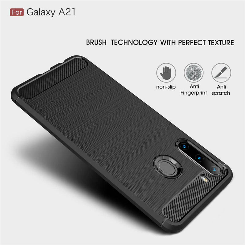 TPU Phone Cover For Samsung Galaxy A21 Carbon Fiber Case Black