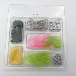 Basstrike Soft Plastic Grub Batis and Jig Heads Kit