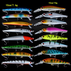 Set Mixed 16pcs/Lot 2 Models Minnows Fishing Lures Jerkbait High Quality Fishing Tackle 6# Hooks
