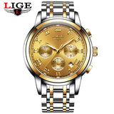 Kulgadgets all gold steel Men's  Luxury  Chronograph Waterproof Sportwatch