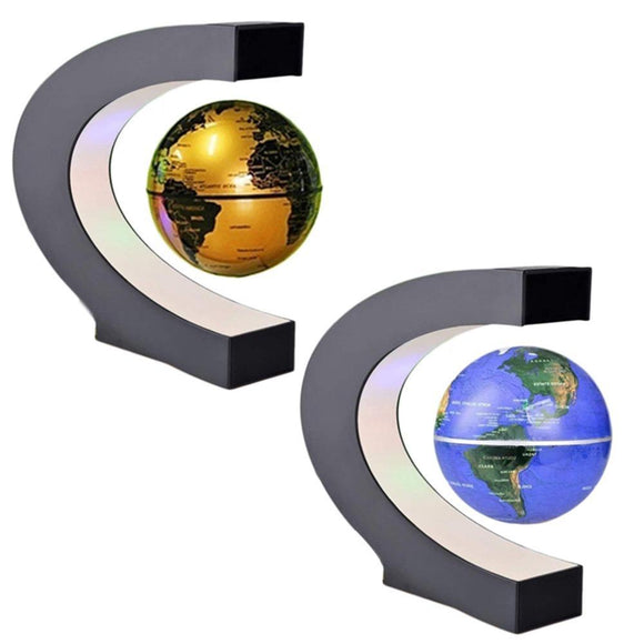 Kulgadgets C shape floating magnetic world map globe with LED light