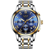 Kulgadgets gold blue steel Men's  Luxury  Chronograph Waterproof Sportwatch
