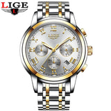 Kulgadgets gold white steel Men's  Luxury  Chronograph Waterproof Sportwatch