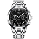 Kulgadgets silver black steel Men's  Luxury  Chronograph Waterproof Sportwatch