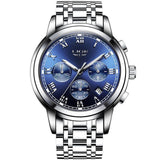 Kulgadgets silver blue steel Men's  Luxury  Chronograph Waterproof Sportwatch