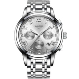 Kulgadgets silver white steel Men's  Luxury  Chronograph Waterproof Sportwatch