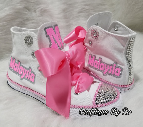 3e6f7d605 Pink Bling Shoes - Birthday Outfit - Custom Pink Shoes - Birthday Outfit