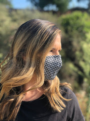 B/W Gingham Plaid Face Mask (Specialty)