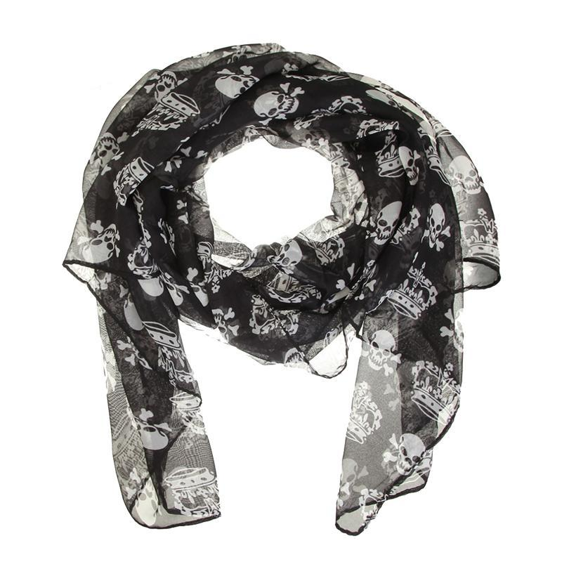 Chiffon Skull Scarf Shawl - 35% Off - The Creative Booth