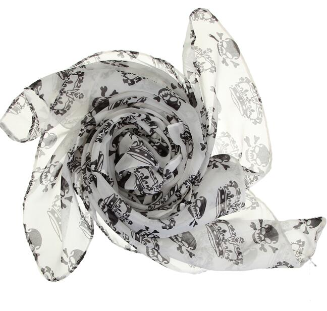 FREE! Chiffon Skull Scarf Shawl - The Creative Booth