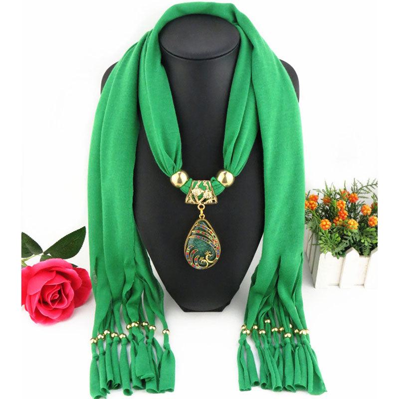 Water Drop Long Tassel Scarf - The Creative Booth