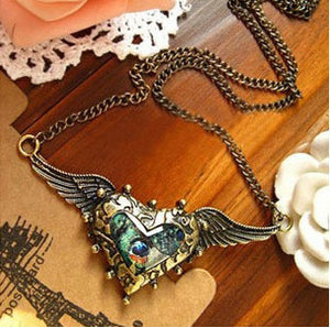 Vintage Heart Wings Necklace - 30% Off!