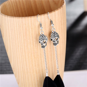 Antique Silver Skull Bohemian Long Drop Feather Earrings - The Creative Booth