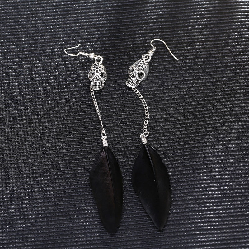 Antique Silver Skull Bohemian Long Drop Feather Earrings - 30% Off - The Creative Booth