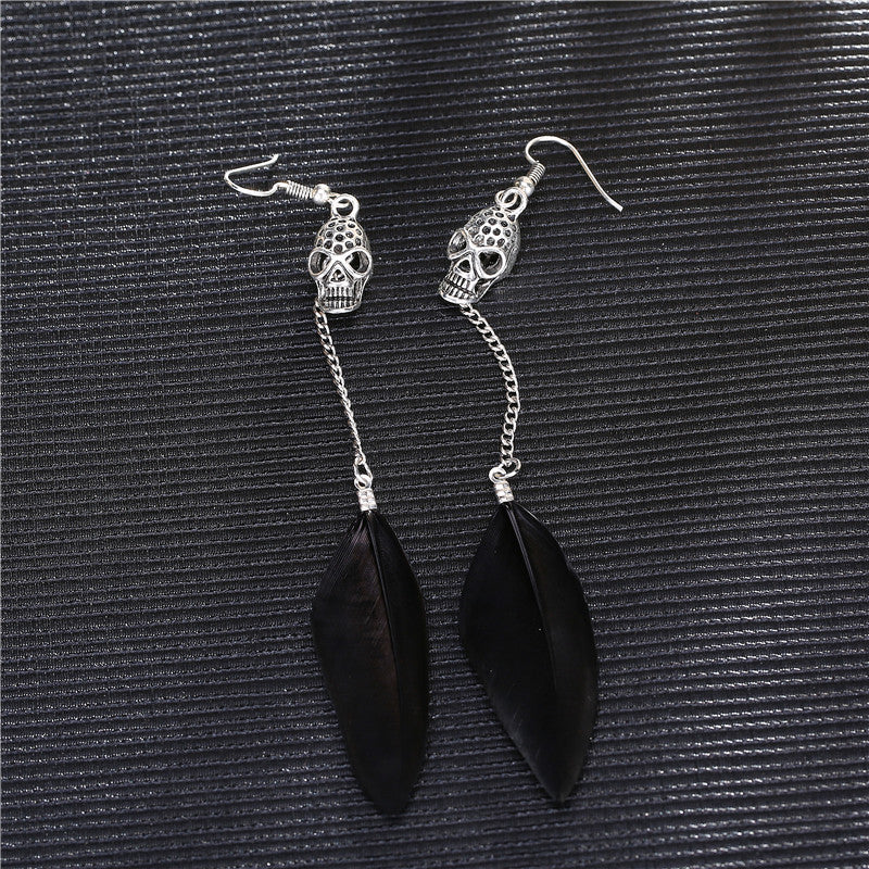 Antique Silver Skull Bohemian Long Drop Feather Earrings - 50% Off - The Creative Booth