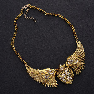 Antique Heart Wings Necklace - The Creative Booth