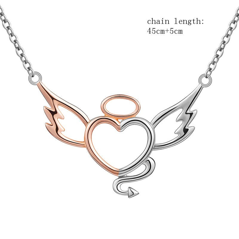Angel and Devil Heart Wings Necklace - The Creative Booth