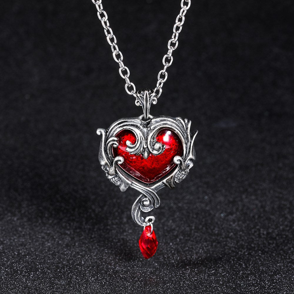 Retro Skull Heart Necklace - 65% OFF! - The Creative Booth