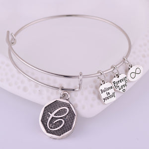 Initial Expandable Wire Bangle - The Creative Booth