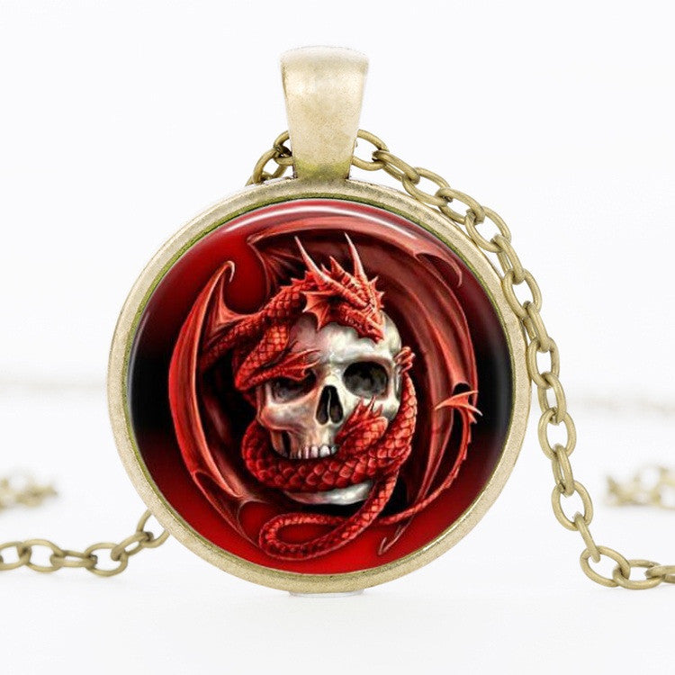 FREE! Red Dragon Skull Pendant Necklace - The Creative Booth