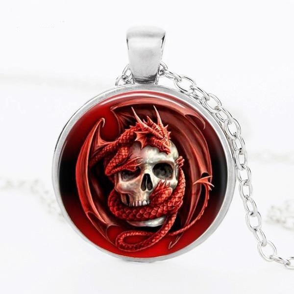 Red Dragon Skull Pendant Necklace