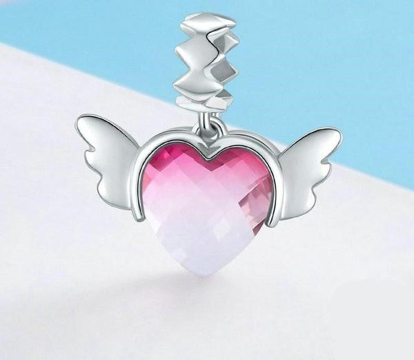 Love Heart Wings Charm Pendant