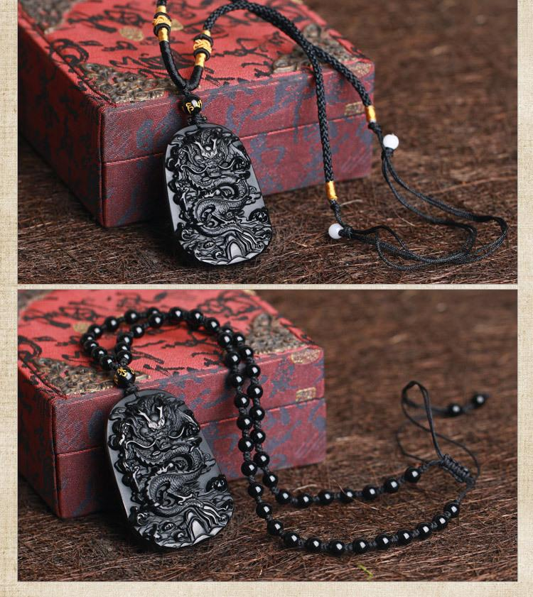 Dragon Obsidian Stone Pendant! - 42% Off + Free Shipping! - The Creative Booth