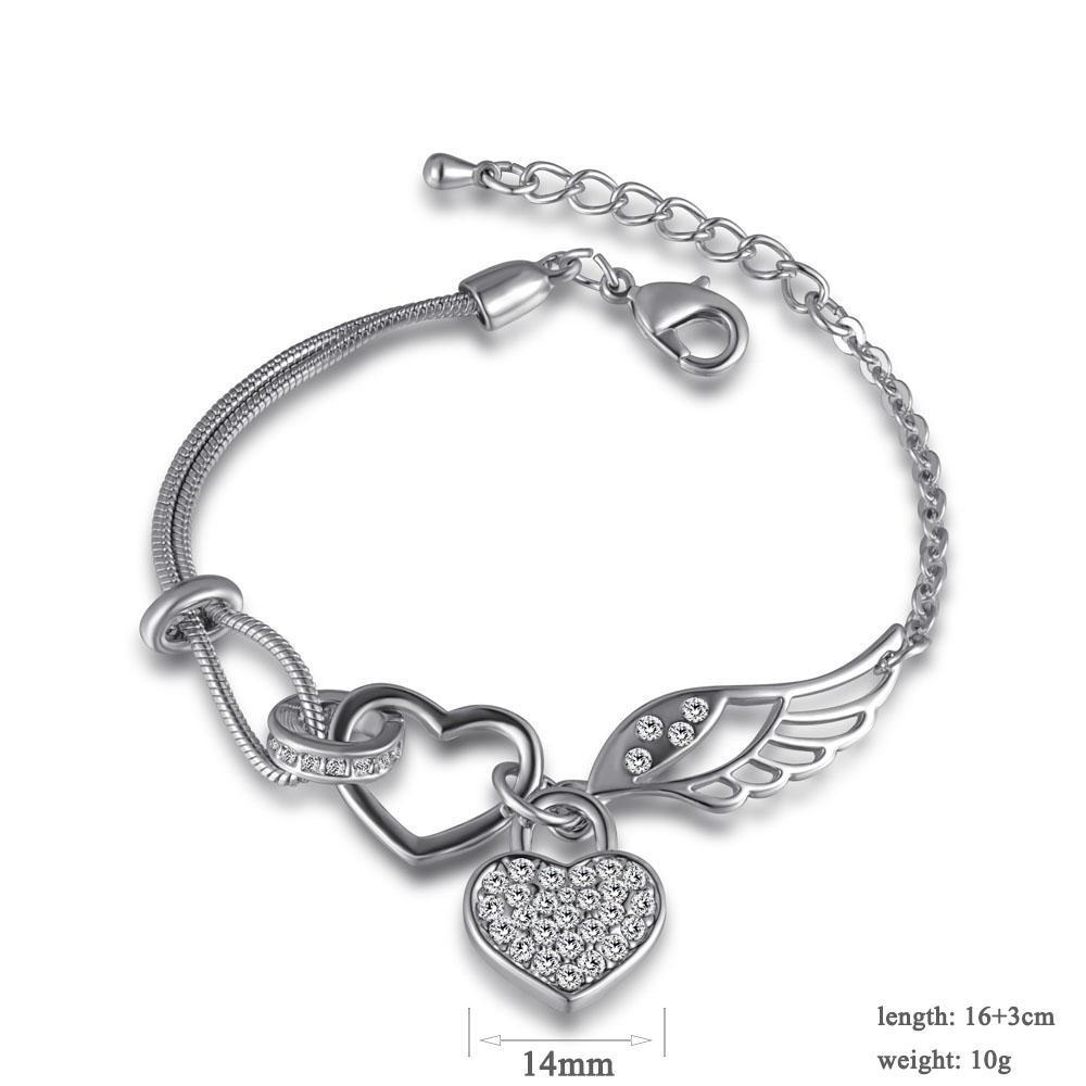 Rhinestone Heart Wing Locket Bracelet