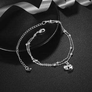 Silver Plated Skull Head Charm Anklet - 30% OFF + FREE SHIPPING