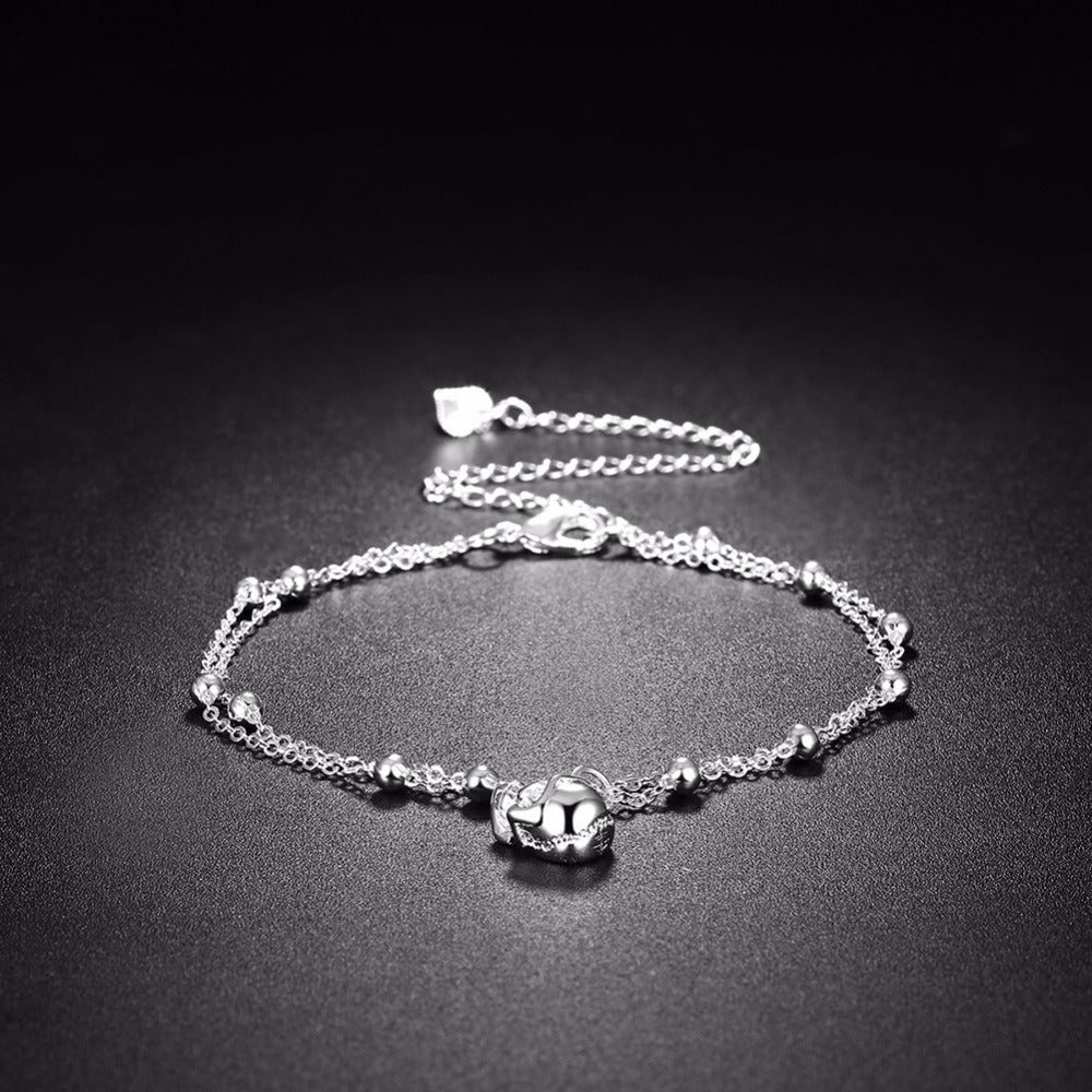 Silver Plated Skull Head Charm Anklet - 65% Off