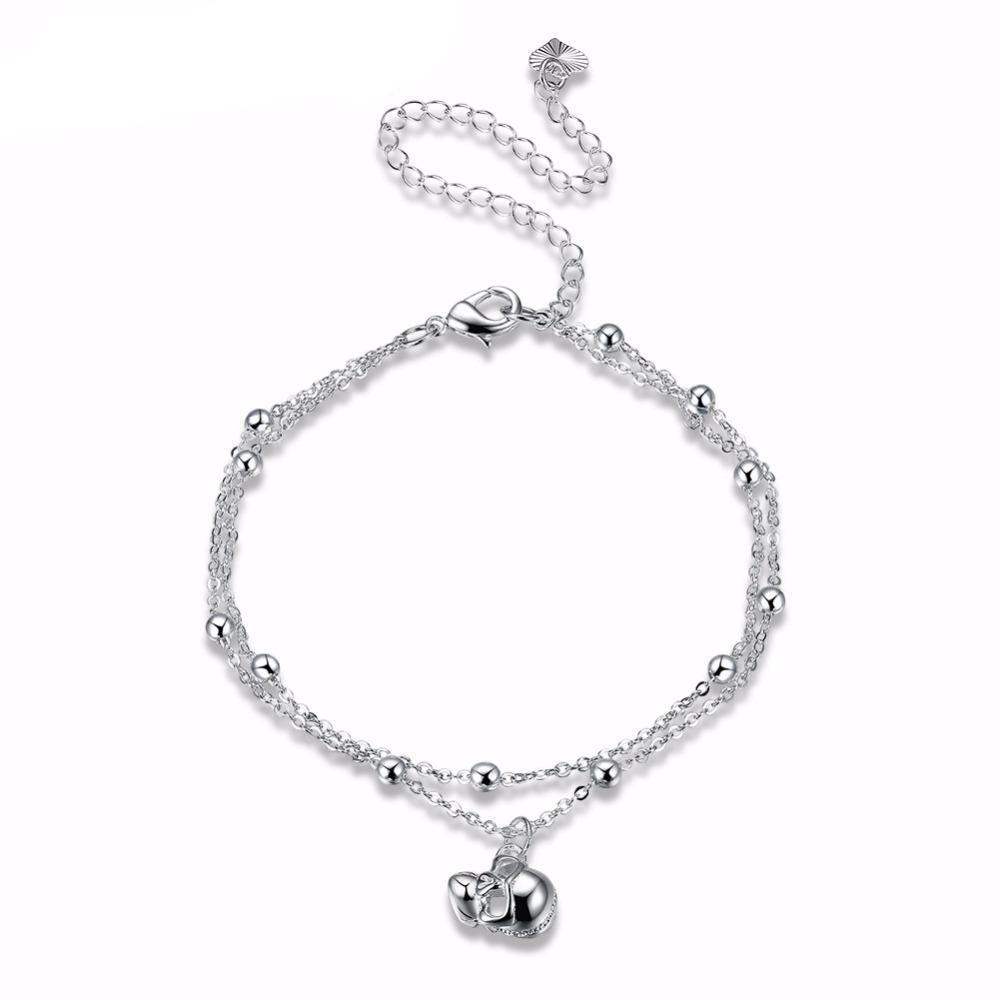 Silver Plated Skull Head Charm Anklet - 50% OFF + FREE SHIPPING