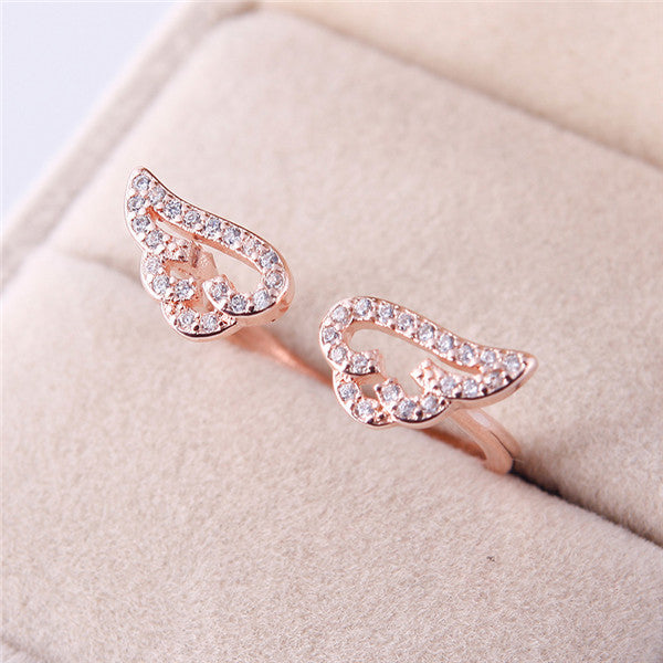 Adjustable Mini Angel Wings Ring - 40% Off + Free Shipping - The Creative Booth