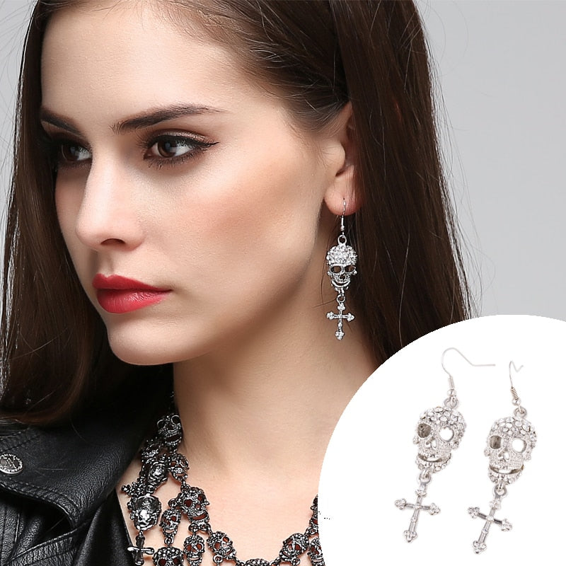Skull Cross Long Dangle Earrings